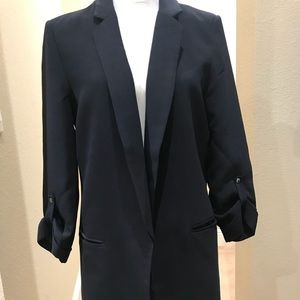 Tahari Srunch Sleeve Navy Blazer